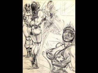 Amazonas dominar mezclado lucha lucha lesbiana arte cómics
