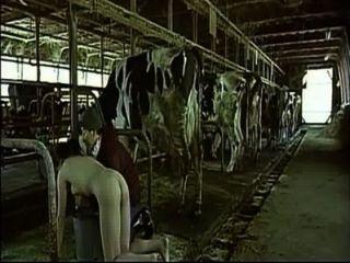 Mujer asiática que finge ser una vaca le ordeñó como un hombre tetas