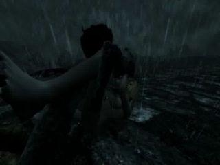 Skyrim femenino dragonborn derrotado y violado en la carretera