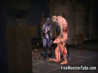 Caliente 3d bebé obtener follada duramente por tres zombies