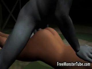 Sexy morena 3d obtener follada duro por un zombieombie alto 2