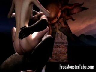 Caliente 3d morena nena obtener follada duro por un monstruo