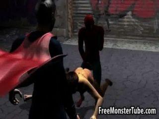Foxy 3d babe obtener follada duro por spiderman