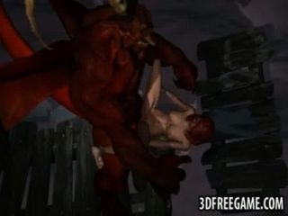 Sexy 3d redhead obtiene follada duro por un demonio alado