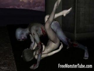 3d zombie dibujos animados nena obtener lamió y jodido