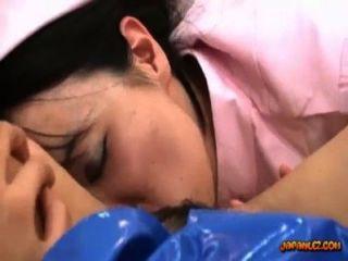 Asiático, niña, policía, uniforme, lamido, follado, juguete, enfermera, cama,