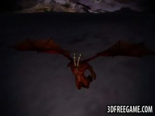 3d pelirroja obtiene follada duro por un demonio alado
