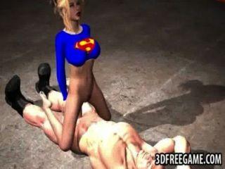 Foxy superwoman 3d rebotes hacia arriba y hacia abajo en una polla