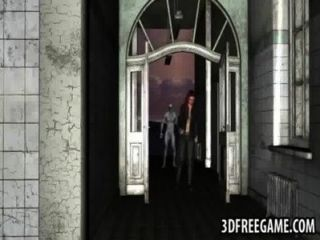 Sexy 3d pelirroja recibiendo follada duramente por un zombie