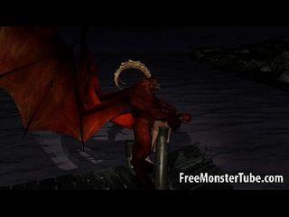 3d dibujos animados bebé obtiene follada al aire libre por un demonio alado