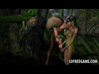 Hot 3d elfo de dibujos animados follada por un monstruo al aire libre