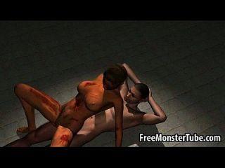 Sabroso 3d de dibujos animados zombie bebé obtener follada duro