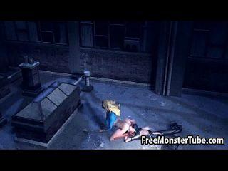 3d supergirl obtener su coño lamió por catwoman