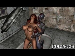 3d babe follada en una morgue por un zombi cachonda