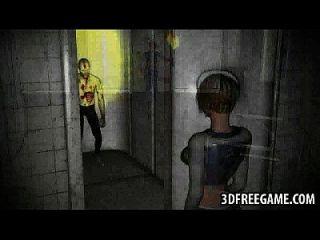 chica de pelo corto 3d rubia obtiene jodido por un zombie