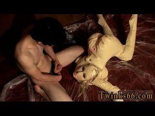increíble escena gay el compañero ama a hacer un lío con su pequenita,