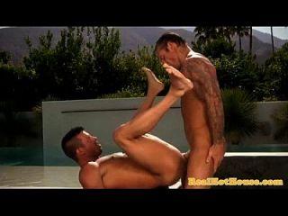 gaysex jock jizzed en después de tres vías