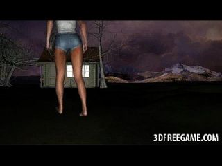 3d pelirroja bebé se follan al aire libre por un zombi