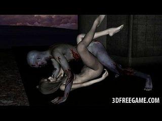 sexy 3d zombie babe obtiene coño lamido y follada