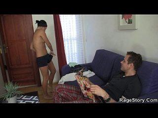 brutal mamada y sexo áspero después de la ducha