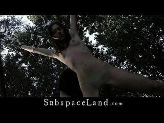 peludo coño desnudo al aire libre atado y nalgas azotado
