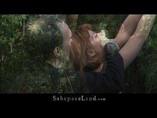 lora contenida en el bosque por ser azotada y jodida