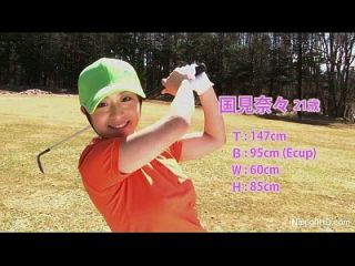 las niñas adolescentes asiáticos juega golf desnudo
