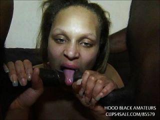 el bbw grueso del ébano toma 2 grandes pollas negras en cada agujero. obtiene gran orgía facial