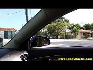 aficionado hitchhiking teen follada en el coche