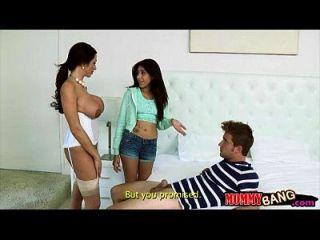 adolescente delgado cogido milf busty seducir a su hombre en el dormitorio