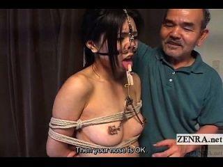extrema japonés bdsm con ganchos de nariz y pinzas subtitulado