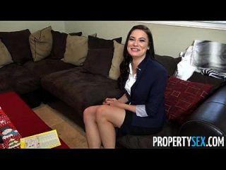 propertysex busty agente de bienes raíces trabaja duro para vacaciones xmas bono