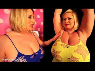 2 bbws enormes tit bbws y titty bump mutuamente