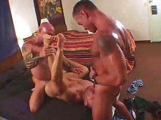 Cerdos gay comiendo cum, doble puta, a pelo