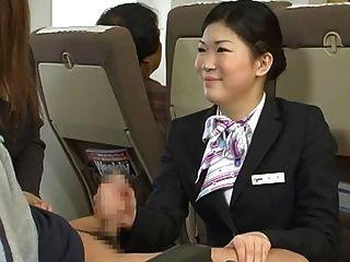 Japonesa azafata handjob censurado