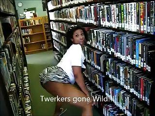 (Lmfao !!) botín de ébano milf botín twerking en la biblioteca ameman