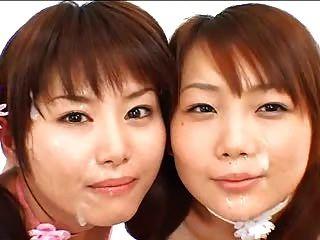 2 chicas asiáticas bukkake