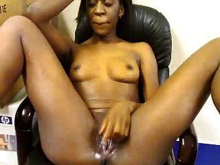 Africano, niña, masturbates, oficina