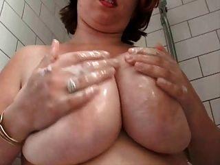 Gorda, peluda, peluda, esposa, en, el, ducha