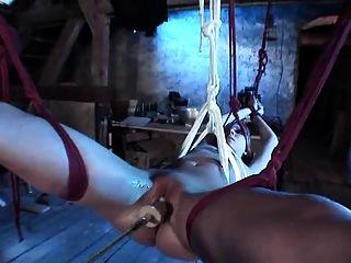 Hottie rubia atado con coño afeitado apisonado por la máquina