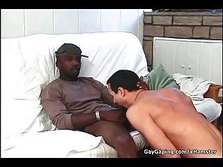Gay blanco que toma tres pollas negras y esperma caliente