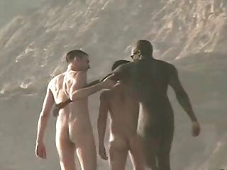 Chicos desnudos en la playa