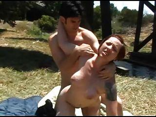 Peludo ex novio follando su novio al aire libre