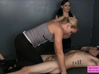 Prep un nuevo esclavo para castración femdom handjob spandex