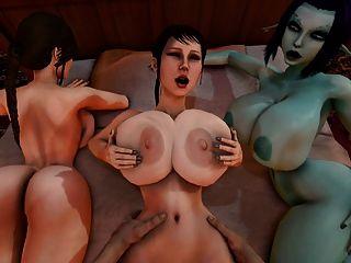 Trishka se follan mientras soria y lara croft ver 3d