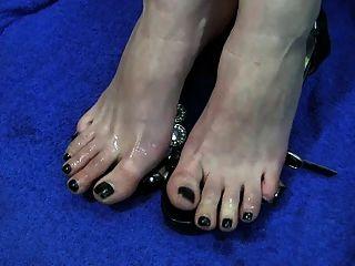 Toejob cum dedos del pie