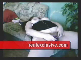 Busty peluda chica juega con vib y esposo