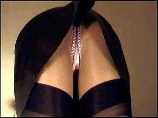 Falda de cuero bragas de satén