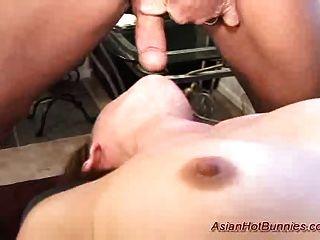 Conejo caliente asiático obtiene deepthroat y anal sexo jodido