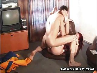 Amateur pelirroja novia mamada y anal con creampie